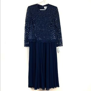 NWT Talbot's Petite Blue Chiffon Sequin Dress